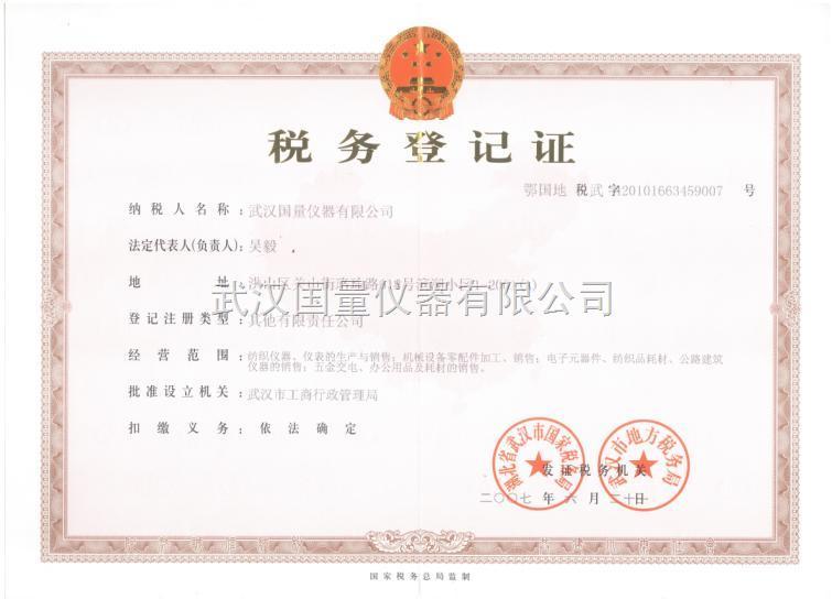 武汉国量仪器税务登记证