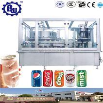 全自動易拉罐飲料含汽酒灌裝封口機組