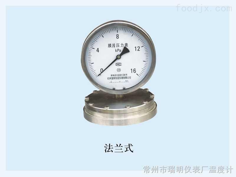 法兰式微压膜片压力表